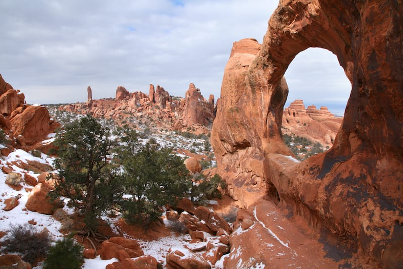Winter in Arches National Park - Double O Arch