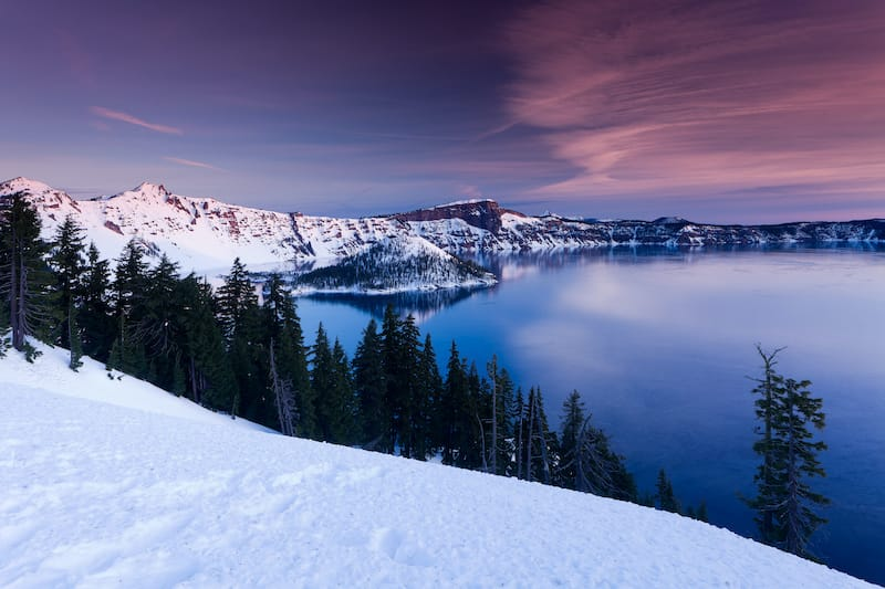 Winter in crater lake oregon