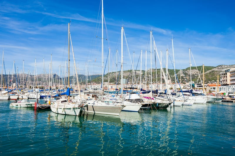 Yachts and boats in the Toulon port in Cote d'Azur provence in sothern France