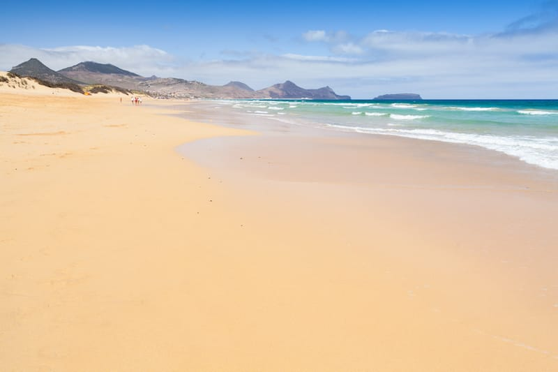 Sandy wide beach landscape of the island of Porto Santo