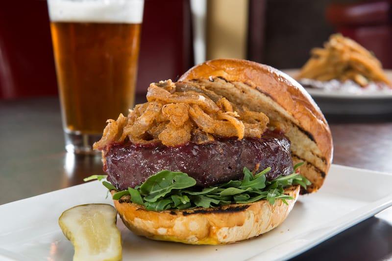 Elk burger and beer