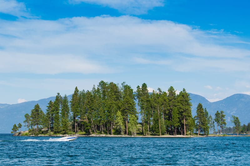 Island in Whitefish Lake in Montana
