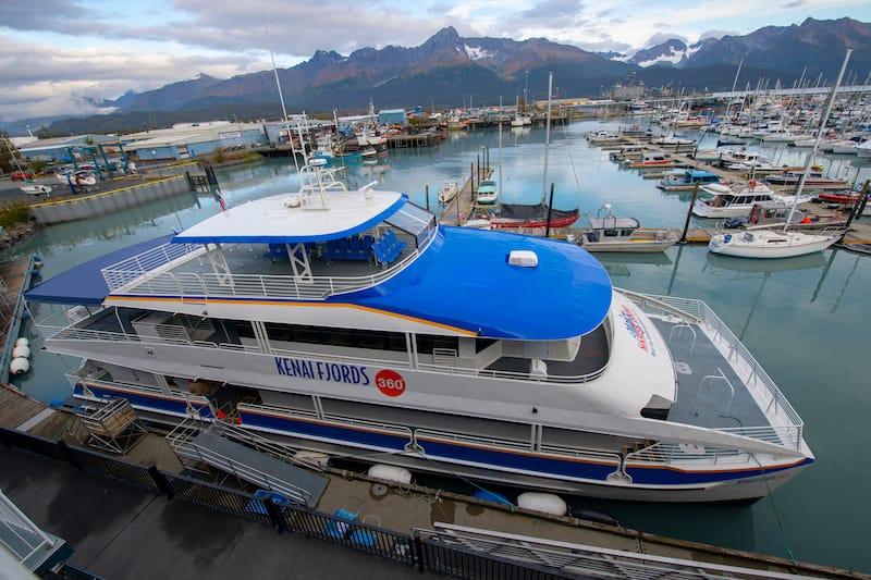 Major Marine Kenai Fjords 360 Tours ship at Seward Boat Harbor in Seward, Kenai Peninsula, Alaska, AK, USA. Seward is a city near Kenai Fjords National Park.