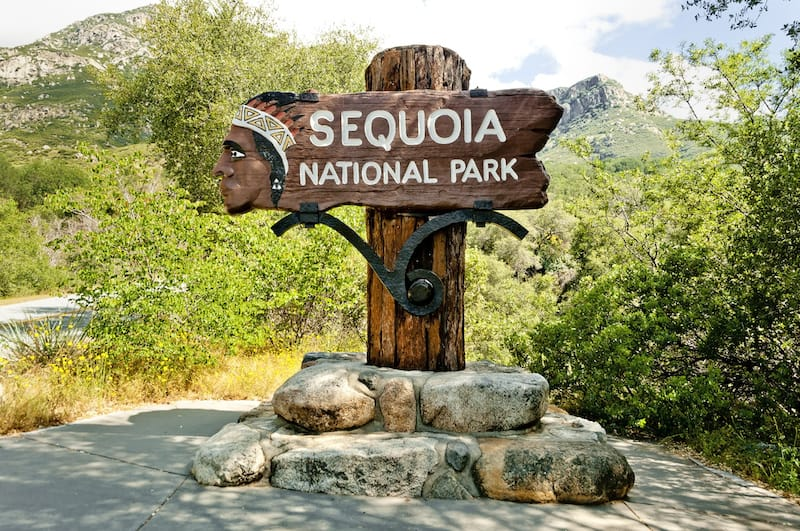 Signpost at Sequoia NP