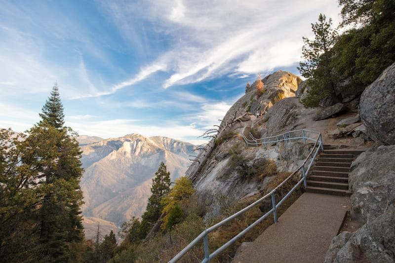Sunset on an autumn evening at Moro Rock in Sequoia National Park