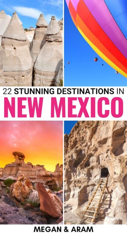 Are you planning a trip to the southwest and looking for the best places to visit in New Mexico? From Taos to White Sands... these are the best destinations in NM! | Visit New Mexico | Destinations in New Mexico | Places in New Mexico | National Parks New Mexico | Southwest USA | Albuquerque | Taos | Chaco Canyon | Carlsbad Caverns | Things to see in New Mexico | Things to do in New Mexico | Travel to New Mexico | New Mexico photography | Santa Fe | Roswell
