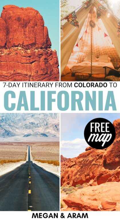 Are you considering taking a Colorado to California road trip? Our 7-day road trip itinerary from Colorado to California details the BEST stops for your trip! | USA road trip | Denver to Los Angeles | Denver to LA | Colorado Road Trip | California Road Trip | Utah Road Trip | Nevada Road Trip | Arizona Road Trip | Moab to Page | Page to Zion National Park | Denver to Arches National Park | Things to do in Colorado | Colorado itinerary | California itinerary | CO to CA road trip