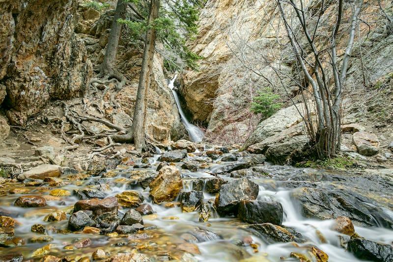 Beautiful Hidden Falls in Big Cottonwood Canyon