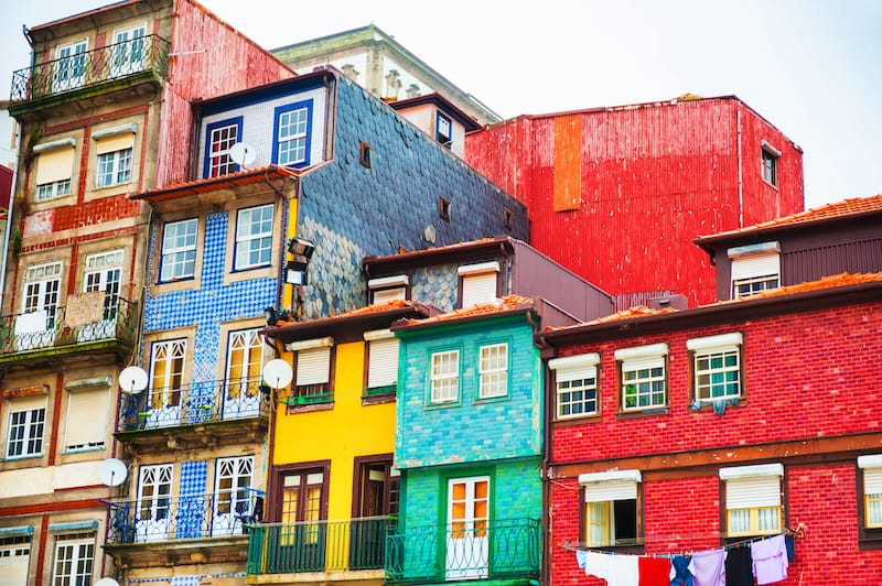 Colorful buildings in Porto Portugal