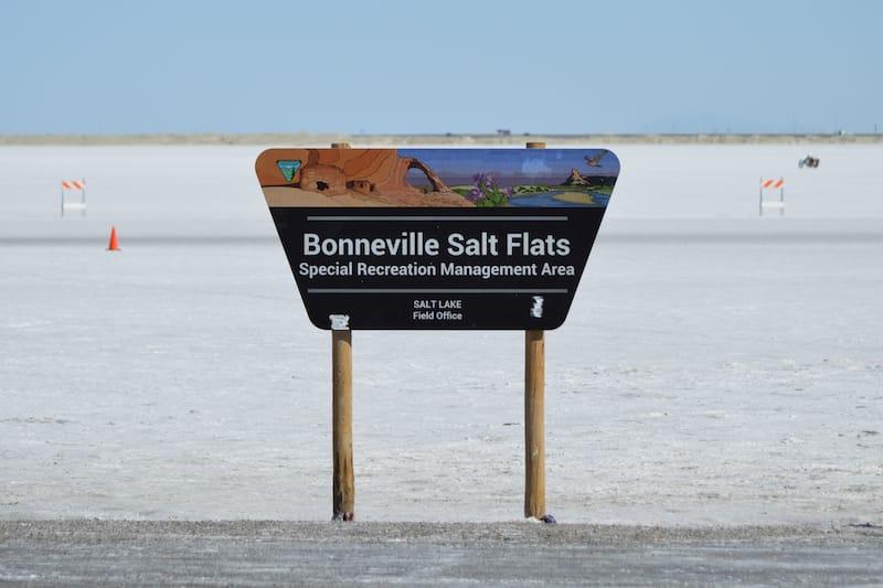 Sign of Bonneville Salt Flats