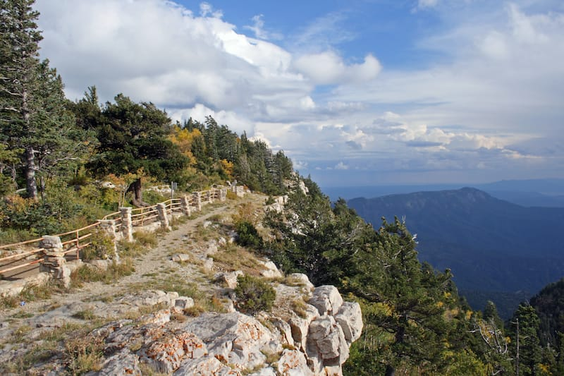 trail along the edge of the Crest of the Sandia Mountains near Albuquerque