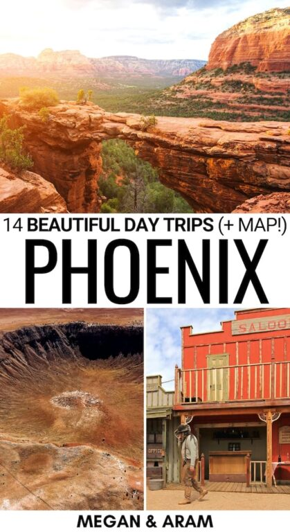 Are you looking for the best day trips from Phoenix? This guide gives several Phoenix day trips that you can consider for a getaway! It also includes a free map! | Weekend trips from Phoenix | Phoenix nearby destinations | Phoenix itinerary | Arizona itinerary | Parks near Phoenix | Hiking near Phoenix | Arizona nature | Arizona bucket list | things to do in Phoenix | Visit Prescott | Saguaro National Park from Phoenix | Phoenix to Tucson