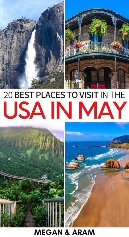 Are you looking for the best places to visit in May in the USA? This guide details twenty incredible destinations for a USA in May spring vacation! Check it out!   USA in Spring   May in USA   New York City in May   New Orleans in May   Boston in May   Virginia in May   Charlotte in May   Denver in May   San Francisco in May   Oregon in May   Texas in May   Oklahoma in May   Georgia in May   USA destinations in May   Nashville in May   Vegas in May   Hawaii in May   Oahu in May