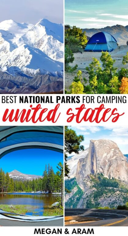 Are you looking for the best national parks for backpacking and camping for an upcoming trip? This guide details our top picks and some tips for each! | National parks camping | National parks backpacking | National parks lodging | Camping in National Parks | Backpacking in national parks | Camping Yosemite | Camping Shenandoah | Camping Denali | Camping Grand Teton | Camping Arches | Backpacking Shenandoah | Backpacking Yosemite | Backpacking Denali | Backpacking Arches | Backpacking Wyoming
