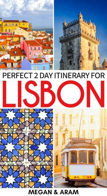 Are you planning on a weekend in Lisbon? This 2 days in Lisbon itinerary will show you the best attractions in the city so you don't miss a thing! Learn more! | Itinerary for Lisbon | Lisbon attractions | Two days in Lisbon | 2 day Lisbon itinerary | What to do in Lisbon | Things to do in Lisbon | Lisbon weekend trip | Trip to Lisbon | Travel to Lisbon | Visit Lisbon | Places to visit in Lisbon | Where to stay in Lisbon | Lisbon landmarks | Lisbon sightseeing | Lisbon beaches