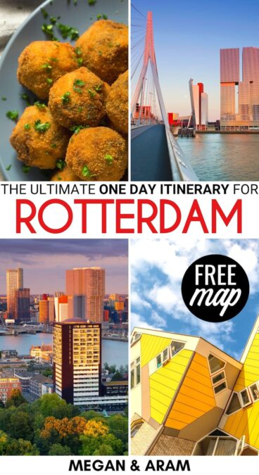 Are you spending one day in Rotterdam soon? This Rotterdam itinerary will give you all the tips and info you need to maximize one day there! Click for more! | Itinerary Rotterdam | 1 day Rotterdam | A day in Rotterdam | Things to do in Rotterdam | What to do in Rotterdam | Rotterdam 1 day itinerary | Where to stay in Rotterdam | Places to visit in Rotterdam | How to get to Rotterdam | Should you visit Rotterdam?