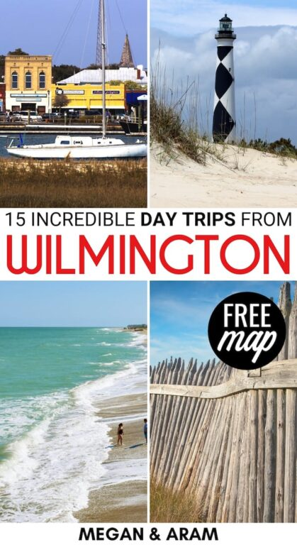 Do you have itchy feet and are looking for the best day trips from Wilmington NC? This guide showcases some of the best Wilmington day trips within two hours! | Places to visit near Wilmington | Wilmington itinerary | Places to visit in North Carolina | Things to do in Wilmington | Kure Beach | Cape Lookout | Cape Fear River | USS North Carolina | Surf City sea turtle | Southport NC | Beaufort NC | Emerald Isle NC | Things to do in North Carolina