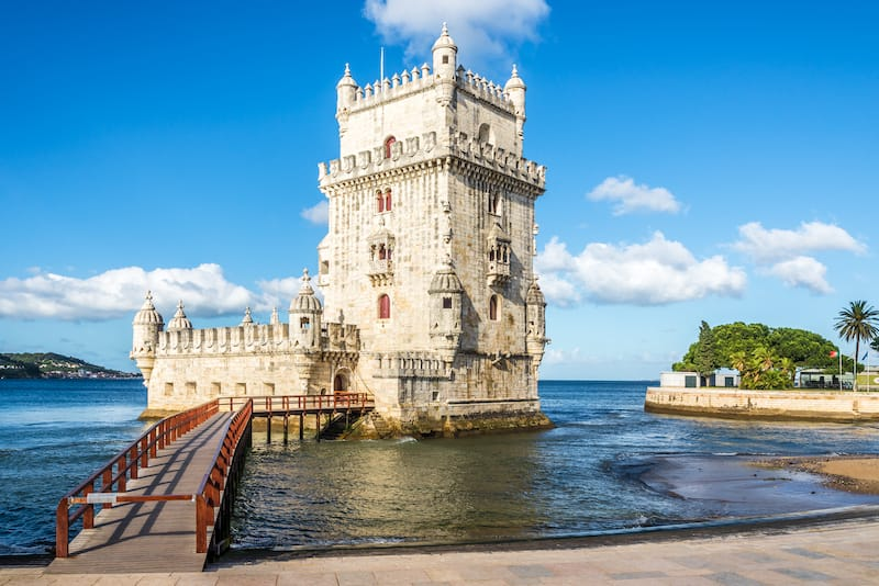 Belem tower at the bank of Tejo River in Lisbon