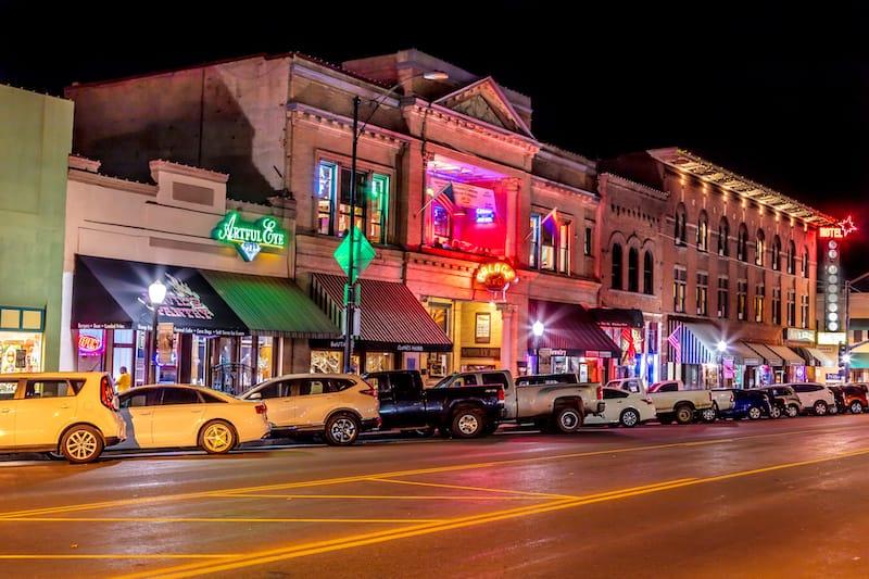 Night photo of Historic District in Prescott