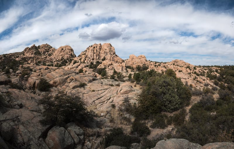 Panorama of the rock formations at Constellation Trails in Prescott, Arizona
