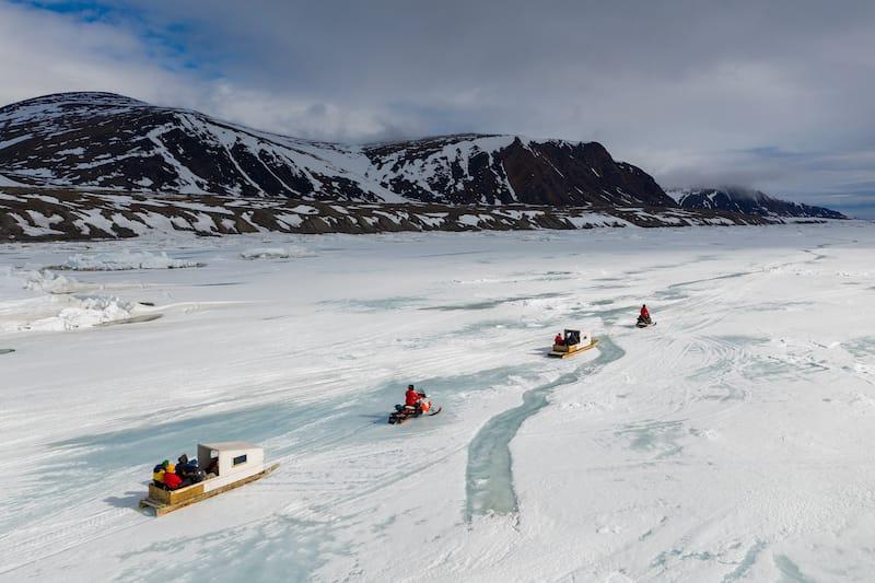 Qamutiik on the sea ice near Sirmilik National Park in Nunavut, Canada
