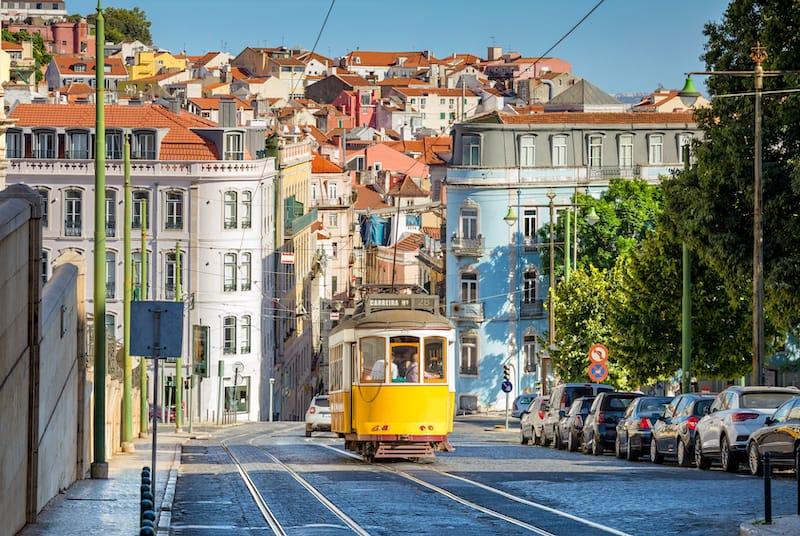 Tram on Line 28 in Lisbon