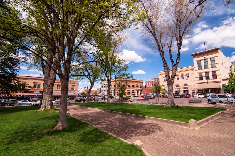 Yavapai County Courthouse Square looking at the corner of Gurley and Montezuma Streets