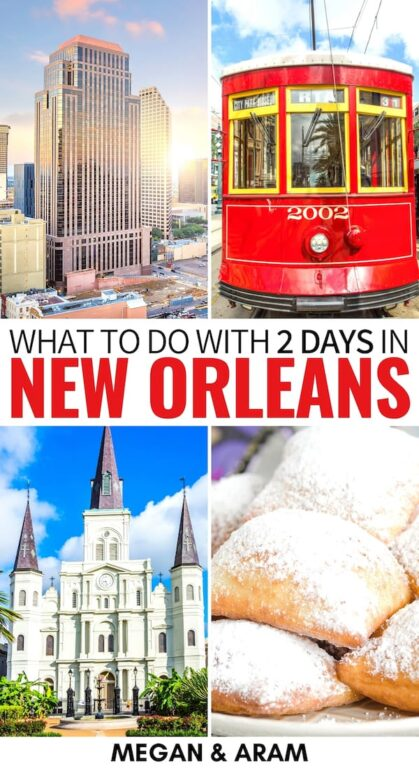 Are you looking for the best (and most exciting!) way to spend 2 days in New Orleans? This weekend in New Orleans itinerary has you covered! Learn more here! | Weekend in New Orleans | New Orleans restaurants | New Orleans weekend trip | Trip to New Orleans | Travel to New Orleans | Things to do in New Orleans | What to do in New Orleans | New Orleans things to do | Itinerary New Orleans | Two days in New Orleans | Places to visit in Louisiana | New Orleans food