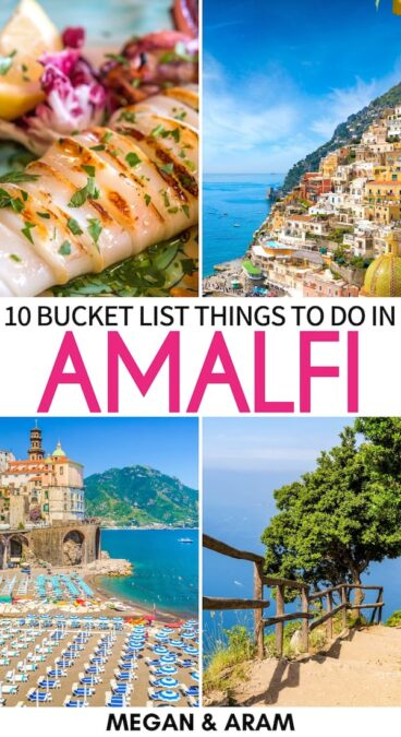 One of Italy's most desirable destinations is the gorgeous Amalfi Coast. This guide discusses the best things to do on the Amalfi Coast - food, views, and more!   Amalfi Italy   What to do in Amalfi   Things to do in Ravello   Things to do in Capri   Amalfi Coast things to do   Travel to Amalfi Coast   Visit Amalfi   Amalfi itinerary   Places to visit in Italy   Amalfi hiking   Amalfi viewpoints   Amalfi views   Amalfi restaurants   Amalfi cafes   Amalfi beaches