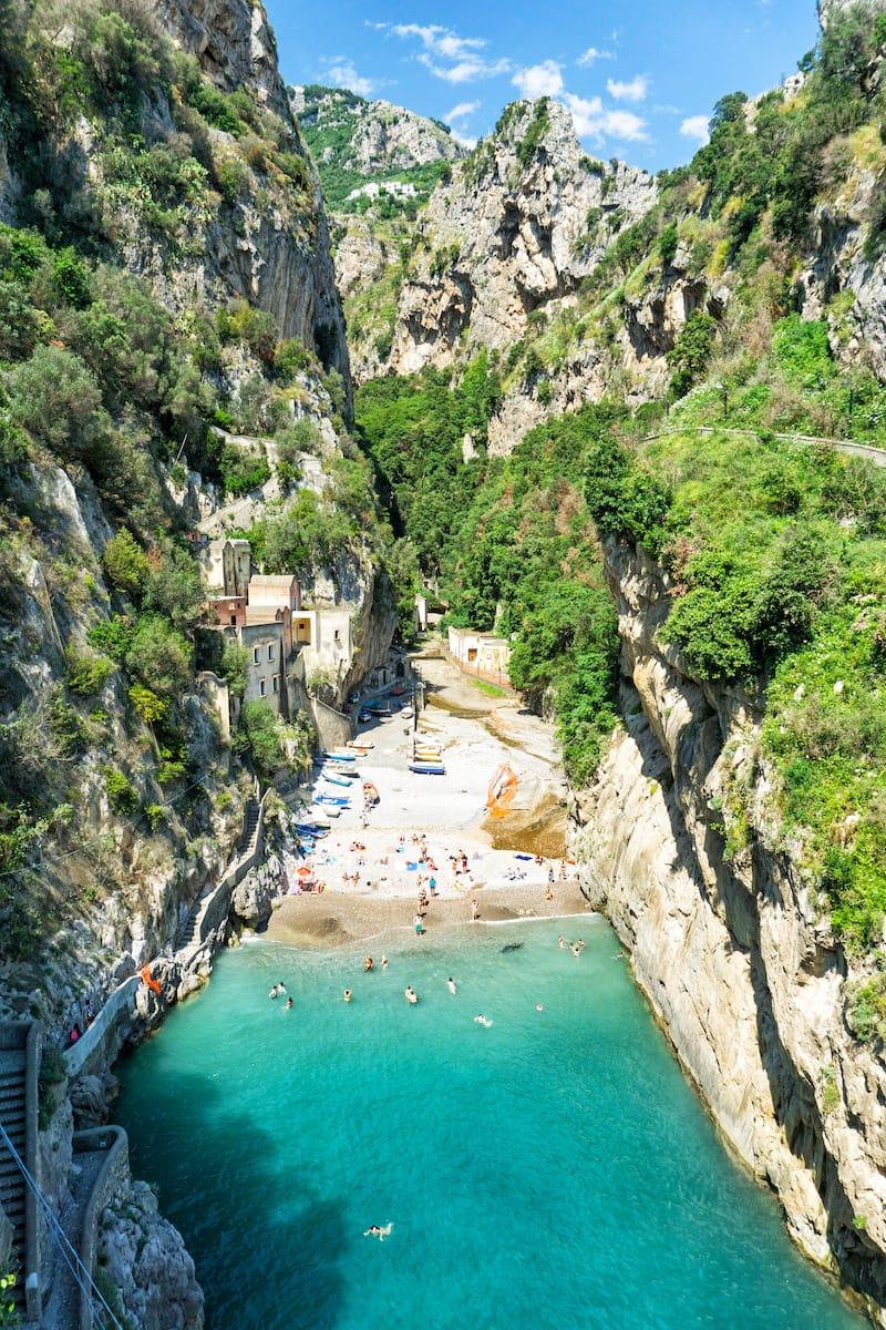 Furore Beach in Amalfi Coast