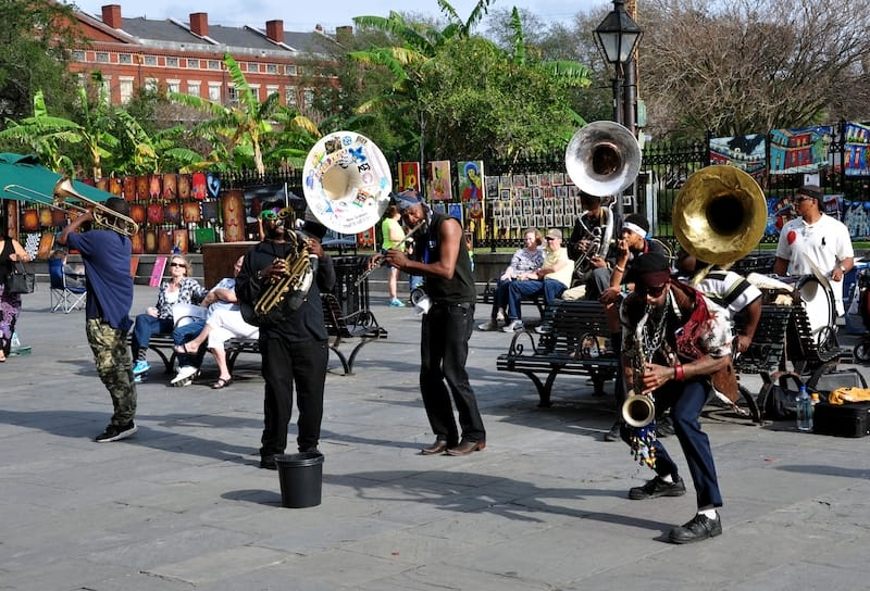 Local jazz band in front of Jackson Square