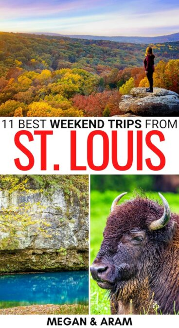 Looking to get out of the city for a bit? These are some of the best weekend trips from St. Louis - from nature spots to cities and beyond! Click for more! | St. Louis things to do | St. Louis weekend getaways | St. Louis day trips | St. Louis attractions | St. Louis weekend trips | Weekend getaways from St. Louis | Things to do in St. Louis | Places to visit near St. Louis | Places to visit in Missouri | Missouri weekend trips