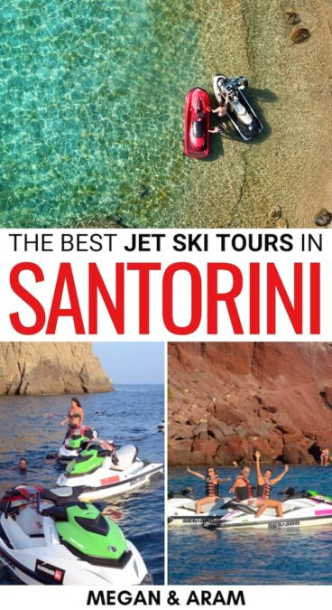 Are you looking to book the epic Santorini jet ski trip? This is a guide covering the BEST Santorini jet ski tour - including a trip to the volcano! Learn more! | Things to do in Santorini | Santorini things to do | Santorini itinerary | Best Santorini tours | Jet skiing in Santorini | Santorini jet ski safari | Santorini volcano | Perivolos Beach | Santorini places to visit | Visit Santorini | Travel to Santorini | Santorini excursions | Santorini jet ski excursion | Santorini activities