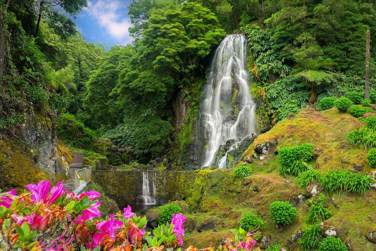Azores waterfall Cascata da Ribeira dos Caldeiros