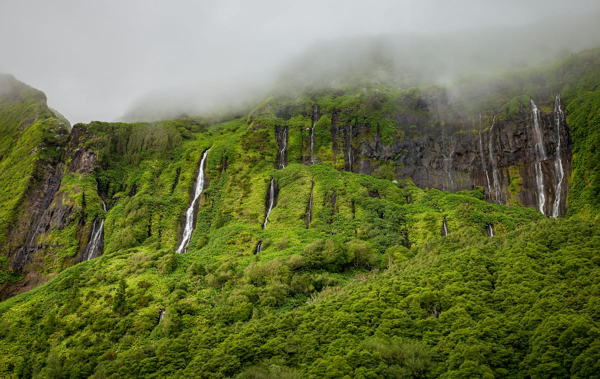 Cascata da Ribeira do Ferreiro on Flores island, Azores
