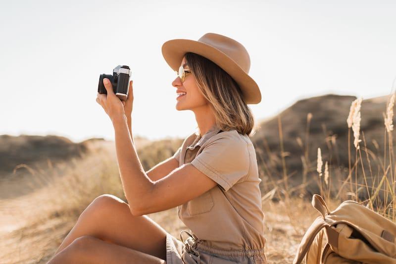 Taking videos in the desert