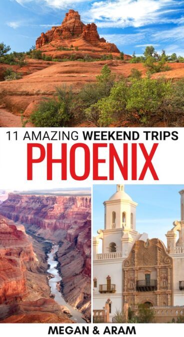 If you're looking for the best weekend trips from Phoenix, these getaways have you covered! From national parks to cities and beyond - click for more! | Arizona weekend getaways | Phoenix road trips | Weekend getaways from Phoenix | Arizona weekend getaways | AZ weekend trips | Places to visit near Phoenix | Things to do in Phoenix | Phoenix to Grand Canyon | Phoenix to Tucson | Phoenix to Monument Valley | Phoenix day trips | Phoenix to Sedona