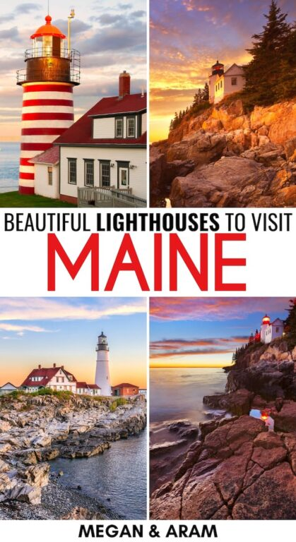 Looking for the most beautiful lighthouses in Maine? This guide covers the most iconic Maine lighthouses and where to find each of them! Click to read more! | Places to visit in Maine | Maine itinerary | Maine attractions | Maine landmarks | Things to do in Maine | Lighthouses in New England | New England lighthouses
