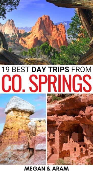Trying to find the best day trips from Colorado Springs? These CO Springs day trips are diverse, jaw-dropping, and perfect to put on your itinerary! | Colorado springs day trips | Weekend getaways from Colorado Springs | Weekend trips from Colorado Springs | Places to visit near Colorado Springs | Garden of the Gods day trip | Pikes Peak day trip | Rocky Mountain National Park day trip | Things to do in Colorado Springs | Colorado Springs itinerary
