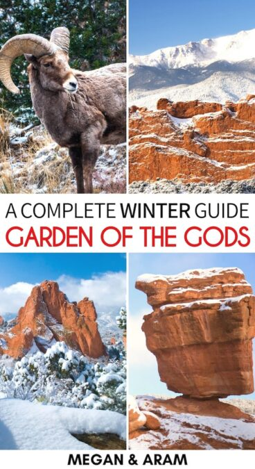 Are you planning to visit Garden of the Gods in winter? This guide details the best things to do, amazing Garden of the Gods hikes, and more! Learn more here! | Winter in Garden of the Gods | Day trips from Denver | Day trips from Colorado Springs | Places to visit in Colorado | Winter in Colorado Springs | Winter in Denver | Winter in Colorado | Colorado springs things to do | Garden of the Gods Hiking | Garden of the Gods Trails