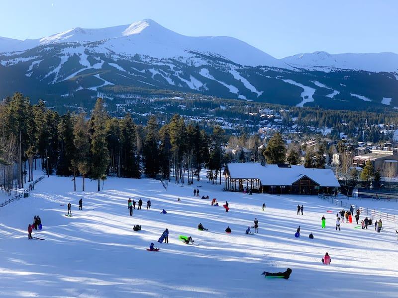 Kids sledding in Breckenridge