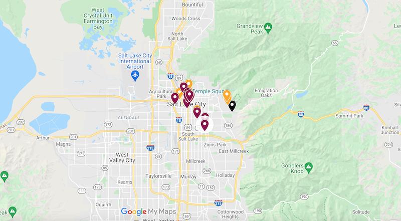 Map of Salt Lake City itinerary