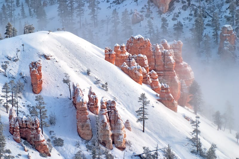 Bryce Canyon Hoodoos in the fog during winter