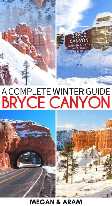 Planning a trip to Bryce Canyon in winter? This guide tells you things to do and what is open (or closed!) during winter in Bryce Canyon National Park. | Bryce Canyon winter | Bryce Canyon National Park winter | Bryce Canyon itinerary | Things to do in Bryce Canyon in winter | Snowshoeing in Bryce Canyon | Winter hiking Bryce Canyon | Utah in winter | Inspiration Point in winter | Snowmobiling Bryce Canyon | Ice fishing Bryce Canyon | Trails Bryce Canyon