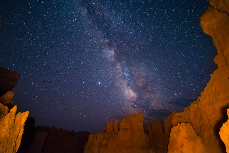 Stargazing in Bryce Canyon in early winter