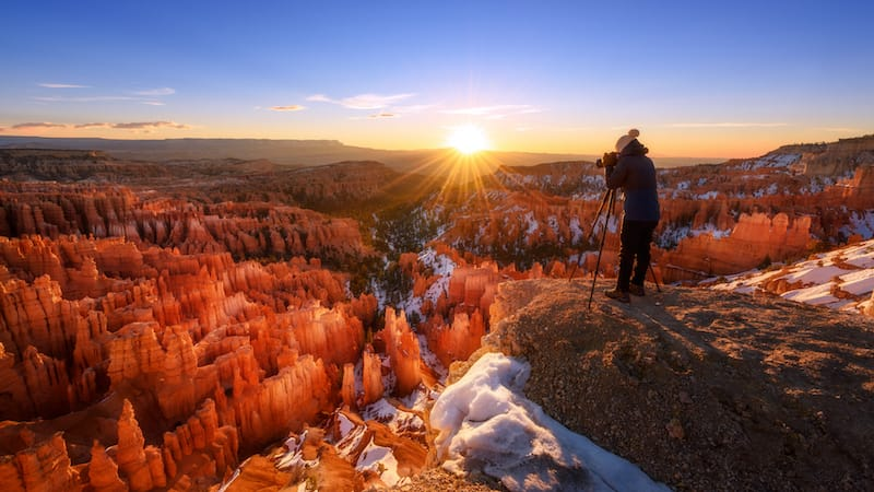 Sunset during winter in Bryce Canyon