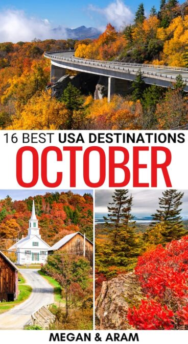 Are you planning a fall trip and are looking for the best places to visit in October in the USA? This guide highlights the USA in October - cities, islands, and more! | USA in Fall Autumn in USA | Philadelphia October | Acadia in October | California in October | Mt Rainier October | Savannah Fall | Oklahoma October | Ohio October | Maine October | Blue Ridge Parkway fall | North Carolina fall | Utah fall | Oregon in fall | Things to do in USA in fall
