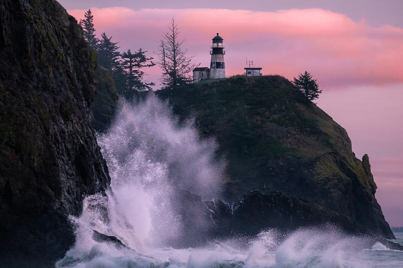 Cape Disappointment Lighthouse in winter