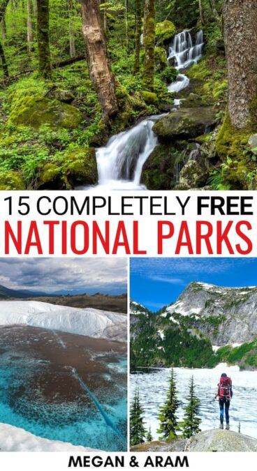 There are currently fifteen free national parks in the United States and you can plan a trip to each! This guide highlights hidden costs + tips for each! | US national parks that are free | No cost national parks | Free entry to US national park | America national parks | Free American national parks | US national parks in winter | US national parks in summer | national park week | free national park days | Planning a trip to US national parks