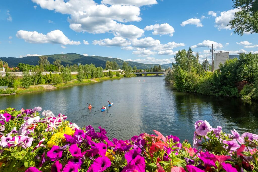 Sand Creek River and Lake Pend Oreille in Sandpoint, ID